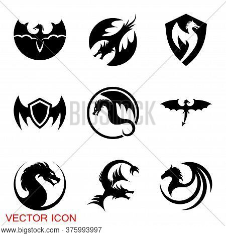 Dragon Icon, Dragon Logo Vector Design Template, Dragon Icon.