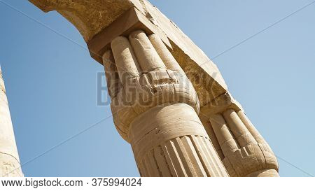 Karnak Temple Of Luxor Architecture Column Detail Close-up  In Day Light