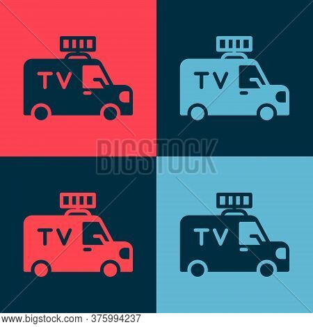 Pop Art Tv News Car With Equipment On The Roof Icon Isolated On Color Background. Vector