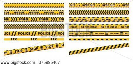 Caution Perimeter Stripes. Police Line For Crime Scenes Or Danger. Black And Yellow Do Not Cross And