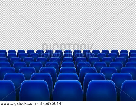 Isolated Blue Armchairs For Cinema, Theatre Or Opera. Realistic Row With Chairs For Watching Movie,