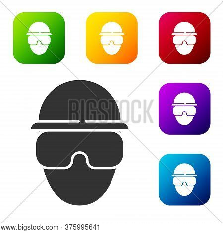 Black Special Forces Soldier Icon Isolated On White Background. Army And Police Symbol Of Defense. S