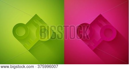 Paper Cut Cryptocurrency Key Icon Isolated On Green And Pink Background. Concept Of Cyber Security O