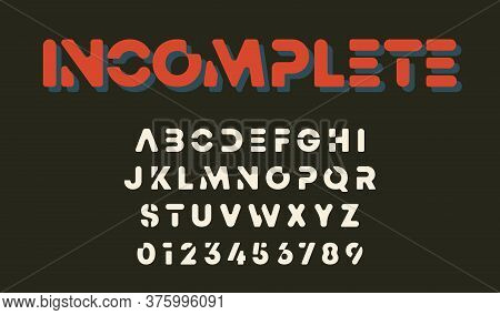 Minimal Design Alphabet Template. Letters And Numbers Incomplete Design. Vector Illustration
