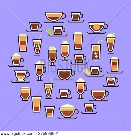 Types Of Coffee. Hot Drinks In Glass Cups With Milk. Espresso, Macchiato And Latte With Cream. Recip