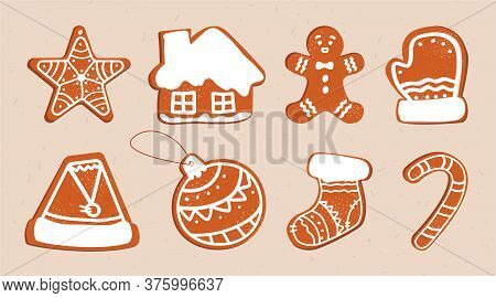 Vector Set Of Isolated Ginger Cookies With Icing And Icing Sugar Of Different Shapes And Elements. N