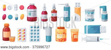 Cartoon Medications. Medical Drugs, Tablets, Capsules And Prescription Bottles. Blisters, Syringe An