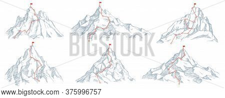 Sketch Route To Mountain Peak. Hand Drawn Sketch Mountains, Path To Top And Climbing Journey Plan Ve