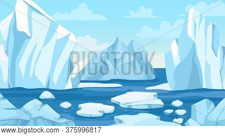 Cartoon Arctic Landscape. Icebergs, Blue Pure Water Glacier And Icy Cliff Snow Mountains. Greenland