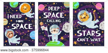 Animal In Space. Hand Drawn Cute Funny Animals In Space Suit, Futuristic Poster With Lettering, Chil