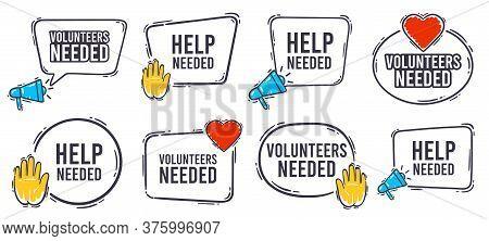 Volunteers Needed Banner. Help Needed Label With Heart, Helping Hand And Advertising Horn Loudspeake