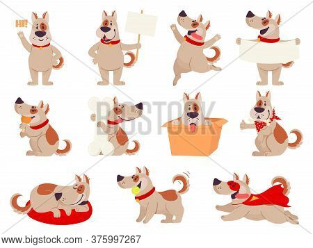 Cartoon Dog Mascot. Cute Dogs In Different Action And Emotion, Happy Smile Friendly Behavior Pet, Ch