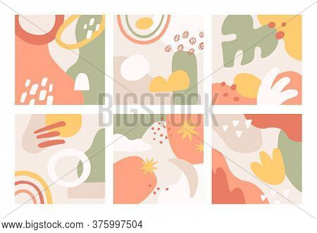 Doodle Abstract Background. Hand Drawn Various Abstract Shapes Brush Strokes, Ink Stains And Grunge