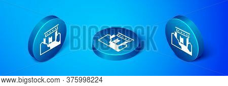 Isometric Ancient Ruins Icon Isolated On Blue Background. Blue Circle Button. Vector