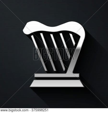 Silver Harp Icon Isolated On Black Background. Classical Music Instrument, Orhestra String Acoustic
