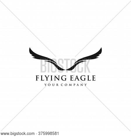 Flying Eagle Logo Abstract Design Vector Template. Falcon Hawk Corporate Logotype Concept Icon.