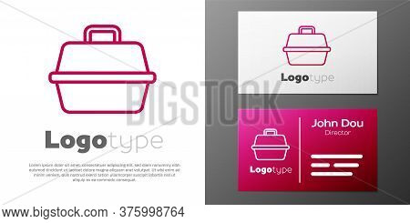 Logotype Line Pet Carry Case Icon Isolated On White Background. Carrier For Animals, Dog And Cat. Co