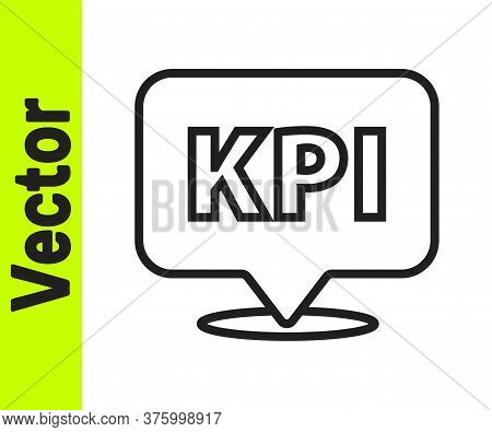 Black Line Kpi - Key Performance Indicator Icon Isolated On White Background. Vector