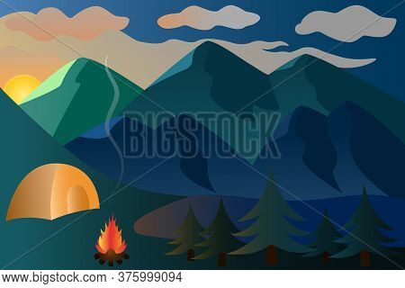 Sunset. Picturesque vector illustration in the fresh air. Mountain landscape. Camping by the lake. A bonfire is set up next to the tent. Flames of fire illuminate the spruce forest. The onset of twilight. Back to nature. The sun rays play.