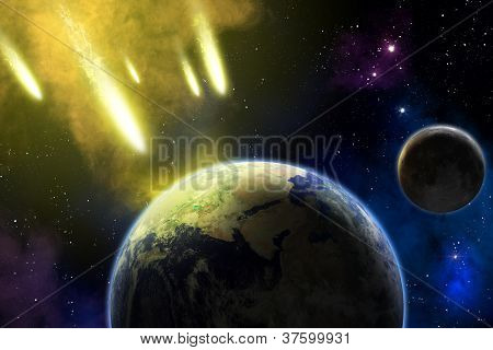 Earth, Moon And Asteroids. Armageddon.