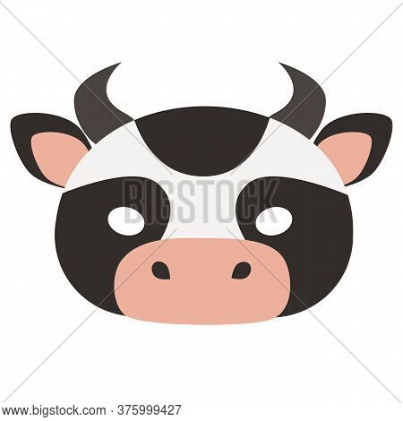 Illustration Of Carnival Mask Of A Pet Cow. Eye Mask For Children's Parties, Halloween, Masquerades.