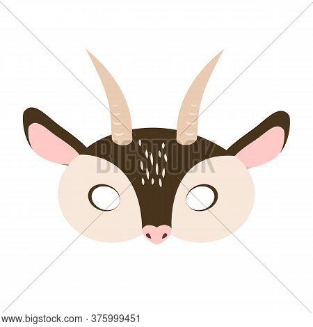 Illustration Of Carnival Mask Of A Pet Brown Goat. Eye Mask For Children's Parties, Halloween, Masqu
