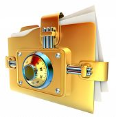 folder with golden combination lock stores important documents poster