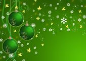 creative christmas card green with baubles and snowflake poster