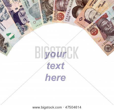Nigerian Money Frame, Isolated On White