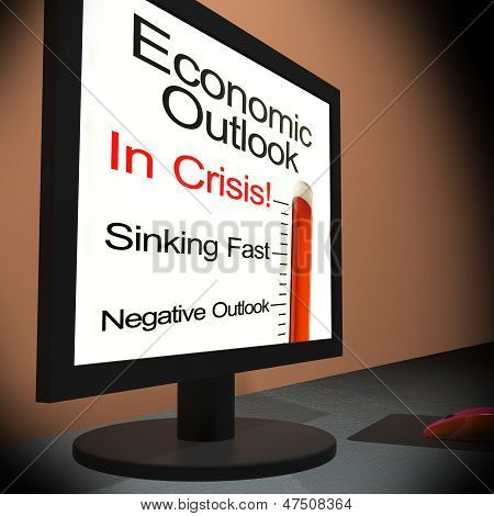 Economic Outlook On Monitor Showing Financial Forecasting