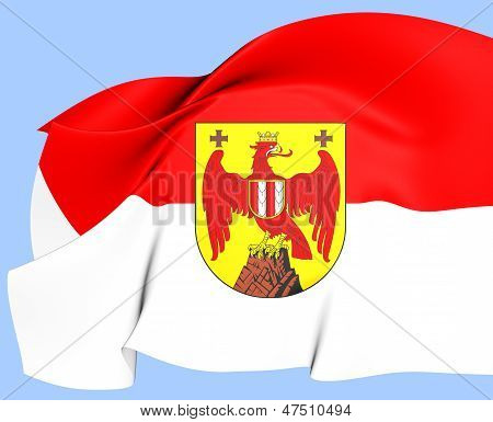 Flag of Burgenland Austria. Close Up. Front View. poster