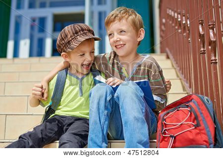 Our First Day In School. Two Happy Kids.
