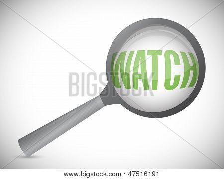 Word Watch Under A Magnifier. Illustration Design