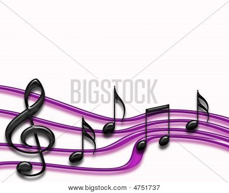 Musical Staff Isolated Purple
