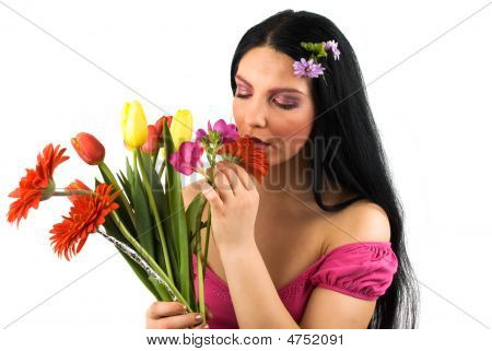Woman With Spring Flowers