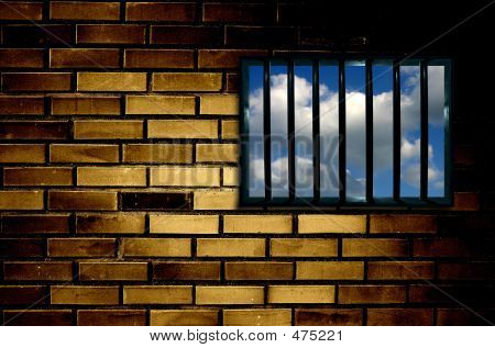 Latticed prison window, clear sky beyond poster