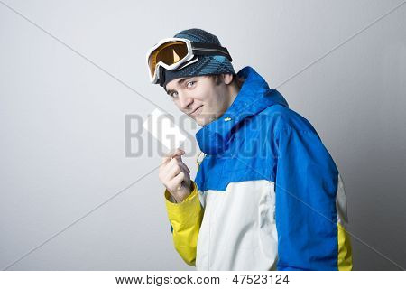 Winter Sport Athlete With Business Card