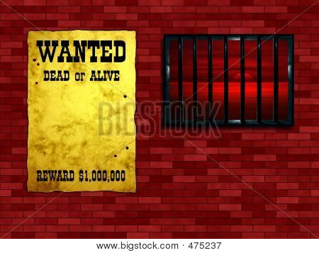 Latticed Prison Window, Sunset Beyond. Vintage Wanted Poster On The Wall
