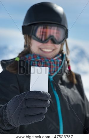 Girl Holding Blank Business Card Smiling