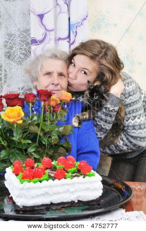 Girl With Elderly Woman
