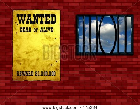 "Escape conception - twisted grating. Vintage ""Wanted"" poster on the wall poster"