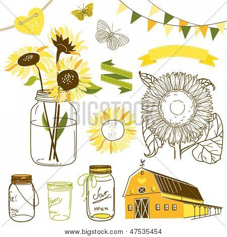Glass Jars, sunflowers, ribbons, bunting, butterflies and cute rustic barn. Ideal for wedding invitations and Save the Date invitations