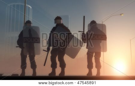 A group of policemen with guns in the sun.