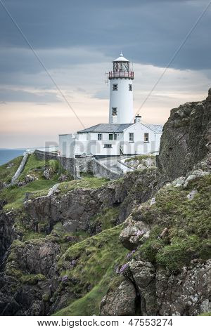 White Lighthouse At Fanad Head, Coast Of Donegal, Ireland