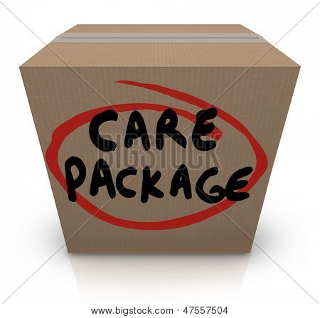 The words Care Package on a cardboard box to illustrate support, aid, assistance and emergency supplies for a victim of a crisis