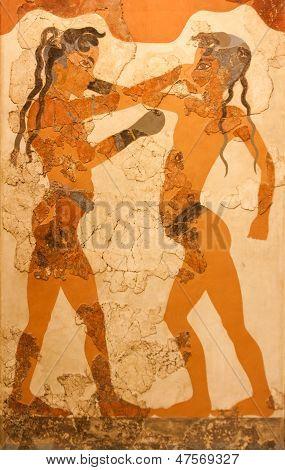 Fresco Of Boxing Boys In Greece