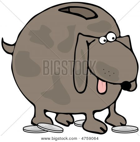 This illustration depicts a coin bank in the shape of a dog. poster