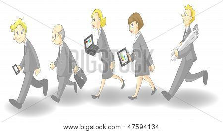 Row Of Busy Businessmen And Women (grey Suit Version)