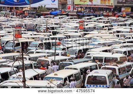 Chaotic Kampala Uganda Public Bus Station