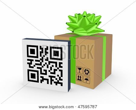 QR code and carton box.Isolated on white. poster